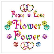 Peace Love Flower Power Wall Art Poster