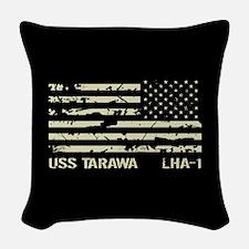 USS Tarawa Woven Throw Pillow