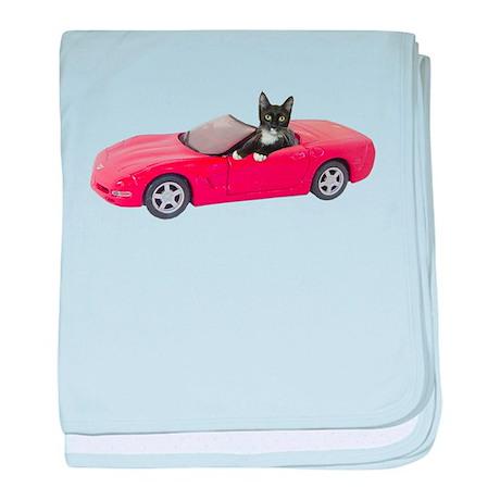 Cat in Red Car baby blanket