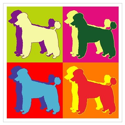 Poodle Silhouette Pop Art Wall Art Poster