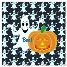 Ghost with Pumpkin Boo! DARK Wall Art Poster