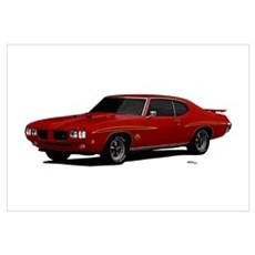 1970 GTO Judge Cardinal Red Wall Art Poster
