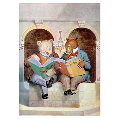 Roosevelt Bears Studying Wall Art Poster