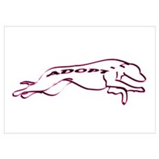 Adopt a Greyhound (Neon) Wall Art Poster