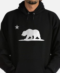 Cali Bear (White) on Dark Hoodie