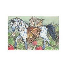 Horse Fairy/Faery & Bunnies Rectangle Magnet