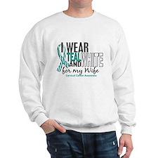 I Wear Teal White 10 Cervical Cancer Sweatshirt