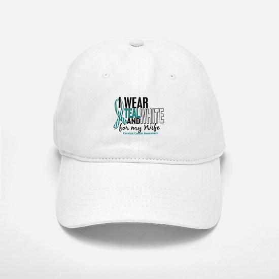 I Wear Teal White 10 Cervical Cancer Hat