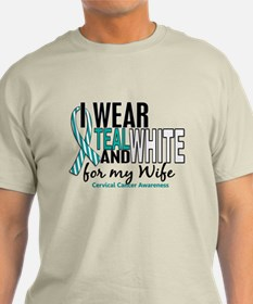 I Wear Teal White 10 Cervical Cancer T-Shirt