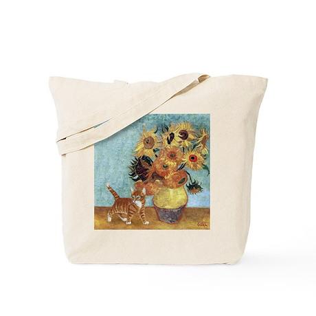 Sunflowers & Kitten Tote Bag