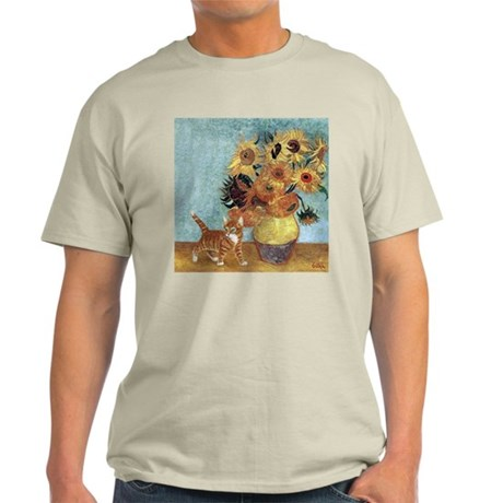 Sunflowers & Kitten Ash Grey T-Shirt