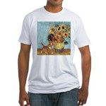 Sunflowers & Kitten Fitted T-Shirt