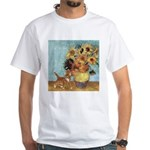 Sunflowers & Kitten White T-Shirt