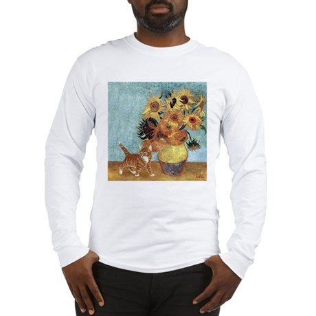 Sunflowers & Kitten Long Sleeve T-Shirt