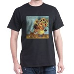 Sunflowers & Kitten Black T-Shirt