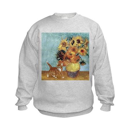 Sunflowers & Kitten Kids Sweatshirt