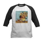 Sunflowers & Kitten Kids Baseball Jersey