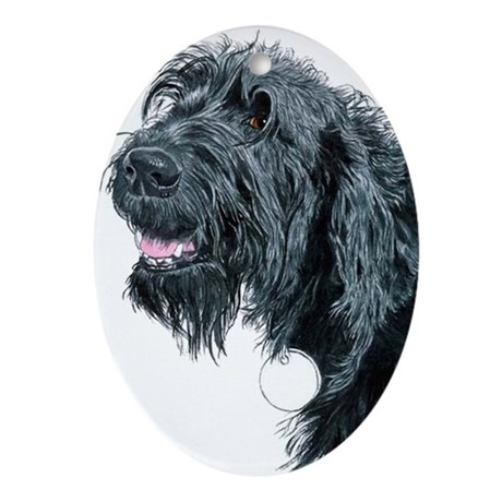 Smiling Labradoodle Ornament (Oval)