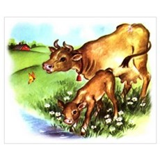 Cute Cow Calf Farm Wall Art Poster