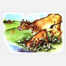 Cute Cow Calf Farm Wall Art