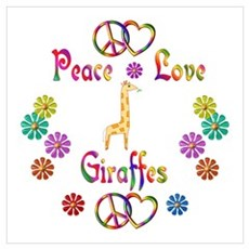 Peace Love Giraffes Wall Art Poster