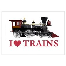 I LOVE TRAINS Wall Art Canvas Art