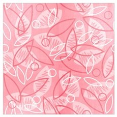 Pink Sketchy Leaves Wall Art Poster