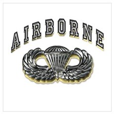 US Army Airborne Wings Silver Wall Art Poster