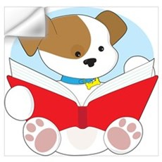 Cute Puppy Reading Wall Art Wall Decal