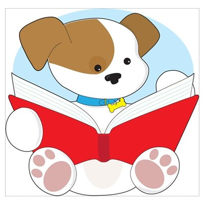 Cute Puppy Reading Wall Art Poster