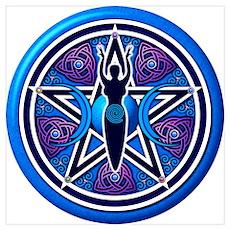 Blue-Purple Goddess Pentacle Wall Art Poster