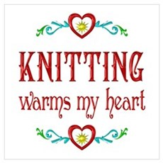 Knitting Warms My Heart Wall Art Poster