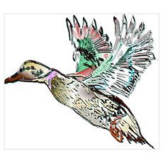 Art Nouveau Mallard Duck Wall Art Poster