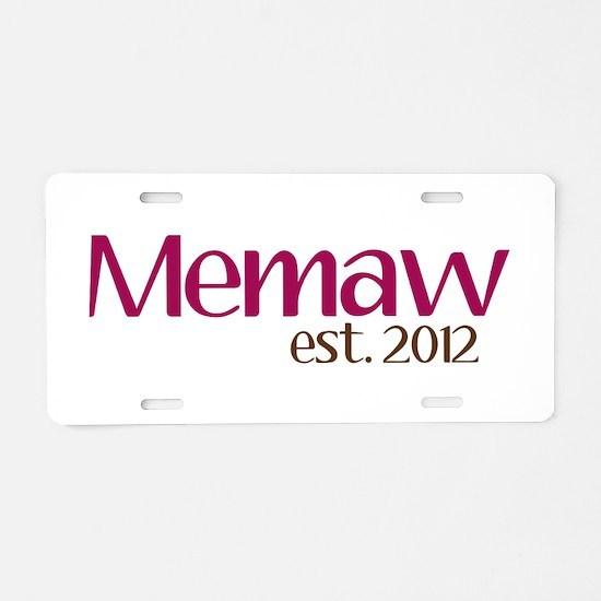 New Memaw 2012 Aluminum License Plate