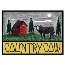 Country Cow Wall Art Poster