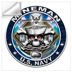 USN Mineman Skull MN Blue Wall Art Wall Decal