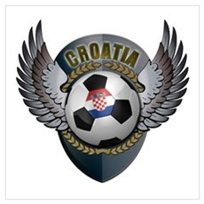 Croatian soccer ball with crest Wall Art Poster