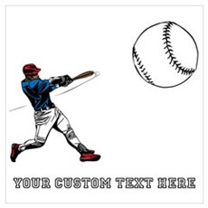 Baseball Player with Custom T Wall Art Framed Print