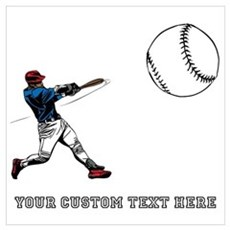 Baseball Player with Custom T Wall Art Poster