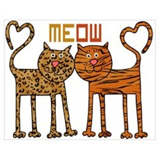Cute Meow Cats Wall Art Poster
