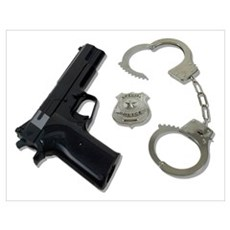 Police Badge Gun Handcuffs Wall Art Poster