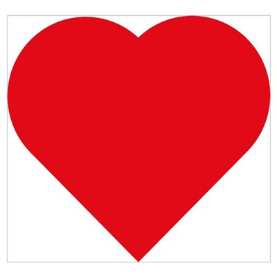 Plain Red Love Heart Symbol Wall Art Poster