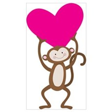 Monkey Heart Wall Art Poster