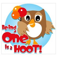 Owl 1st Birthday Wall Art Poster