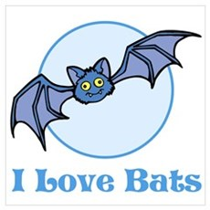 I Love Bats, Cartoon Wall Art Framed Print