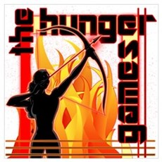 Katniss on Fire Hunger Games Gear Wall Art Poster