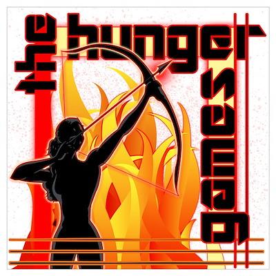 Katniss on Fire Hunger Games Gear Wall Art Poster