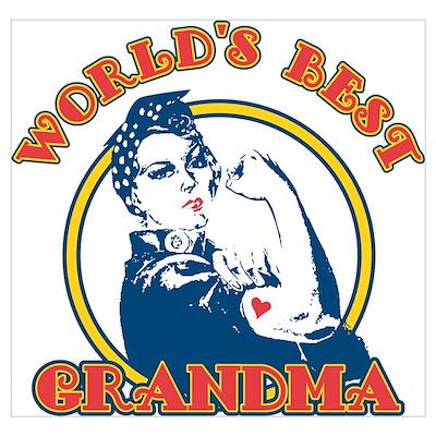 Rosie Riveter Best Grandma Wall Art Poster