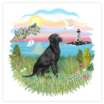 Lighthouse - Black Lab #3 Wall Art Canvas Art