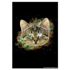 Space Cat Wall Art Framed Print